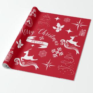 Personligvintagevit & röd julsjal presentpapper