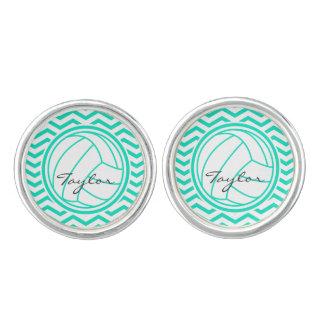 Personligvolleyboll; Grön sparre för Aqua Cufflinks
