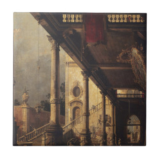 Perspektiv med en Portico vid Canaletto Kakelplatta