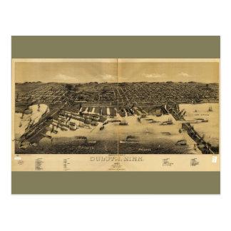 Perspektivkarta av Duluth Minnesota (1887) Vykort