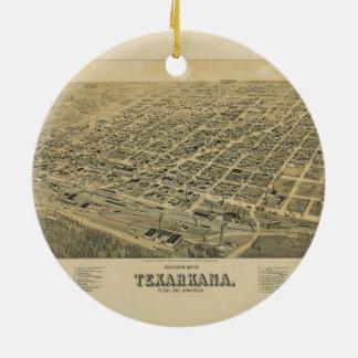 Perspektivkarta av Texarkana Texas och Arkansas Julgransprydnad Keramik