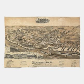 Perspektivkarta av Waynesboro Virginia (1891) Kökshandduk