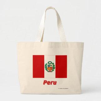 Peru flagga med namn kasse