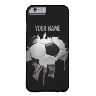 Pesonalized för sönderriven fotboll svart fodral barely there iPhone 6 skal
