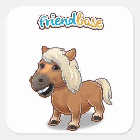 Pet Horse Stickers Fyrkantigt Klistermärke