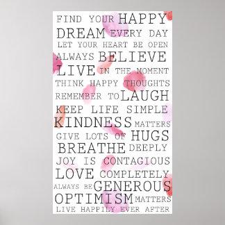 Petals för inspirera ord för realitettankar rosa poster
