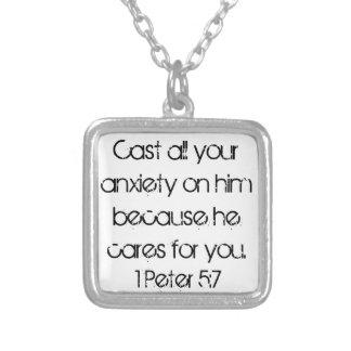 Peter för uppmuntranbibelverse 1 5:7 halsband med fyrkantigt hängsmycke