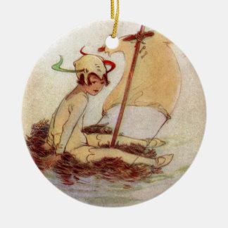 Peter Pan bygga bo på raften Julgransprydnad Keramik