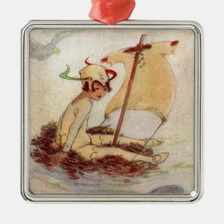 Peter Pan bygga bo på raften Julgransprydnad Metall