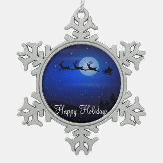 Pewterjulprydnadar med Santa och renen Julgranskulor