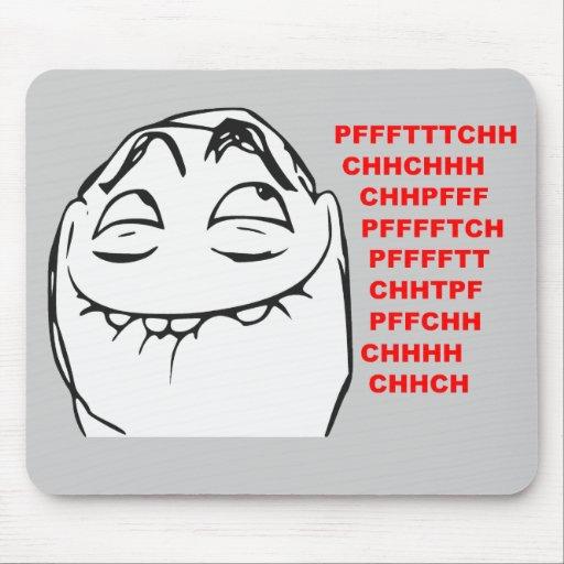 PFFTCH som skrattar ursinneansiktetecknaden Meme Musmattor