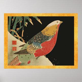 Pheasant i träsnittet för fågel för snövintage den poster