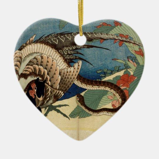 Pheasant och ormen hjärtformad julgransprydnad i keramik