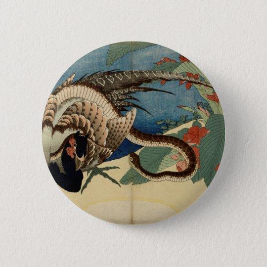 Pheasant och ormen standard knapp rund 5.7 cm
