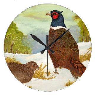 Pheasants i snömålning tar tid på stor klocka
