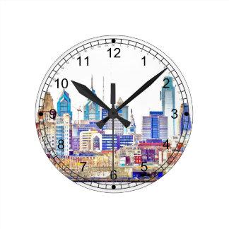 Philadelphia färg skissar väggen tar tid på rund klocka