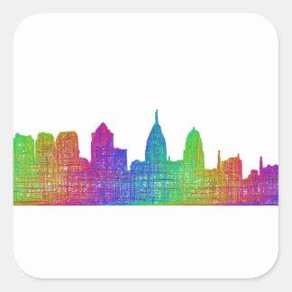 Philadelphia horisont fyrkantigt klistermärke