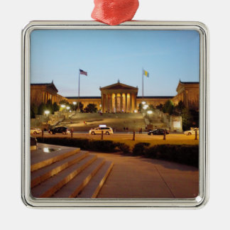 Philadelphia konstmuseumprydnad silverfärgad fyrkantigt julgransprydnad