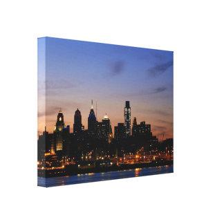 Philadelphia på skymning slågen in kanfas canvastryck