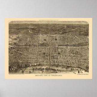 Philadelphia panorama- karta för PA - 1872 Poster