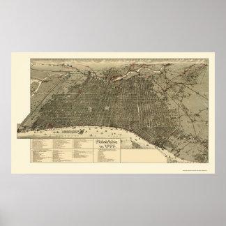 Philadelphia panorama- karta för PA - 1888 Poster
