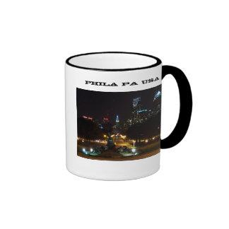Philadelphia Pennsylvania horisont på natten Ringer Mugg