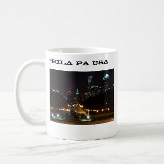 Philadelphia Pennsylvania horisont på natten Vit Mugg