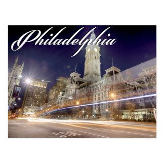 """Philadelphia vykort """"stadshus på natten """","""