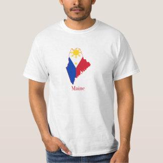 Philippines flagga över den Maine kartan T-shirts