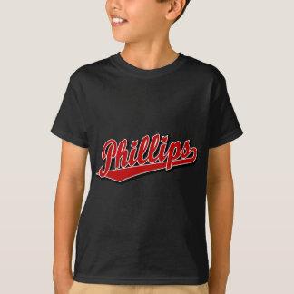 Phillips skrivar logotypen i rött t-shirt