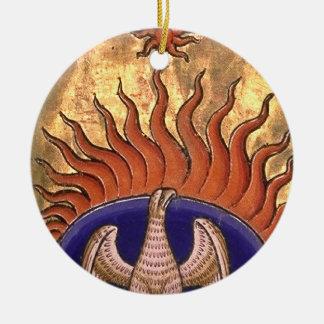 Phoenix stigning från askaen rund julgransprydnad i keramik