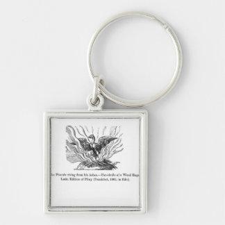 Phoenixen som stigning från hans aska fyrkantig silverfärgad nyckelring