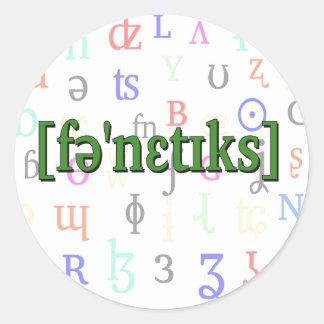 Phonetics i IPA. Grönt på teckenbakgrund Runt Klistermärke