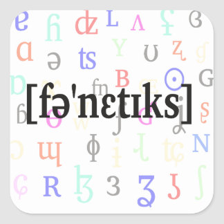 Phonetics i IPA. Svart på teckenbakgrund Fyrkantigt Klistermärke
