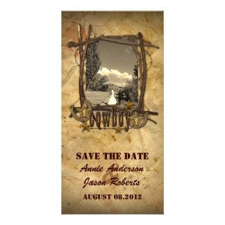 Photocard för bröllop för vintagelandcowboy fotokort