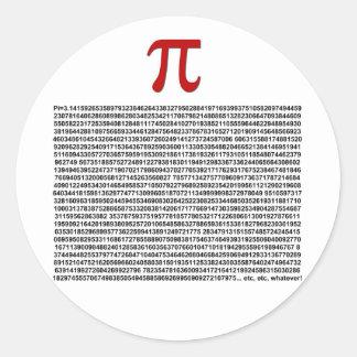 Pi = 3,141592653589 spelar ingen roll etc. etc.…! rund klistermärke