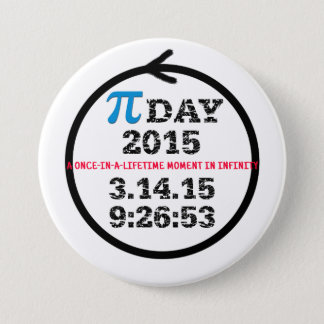Pi-dagfirande 2015 knäppas mellanstor knapp rund 7.6 cm