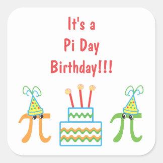 Pi-dagfödelsedag Fyrkantigt Klistermärke