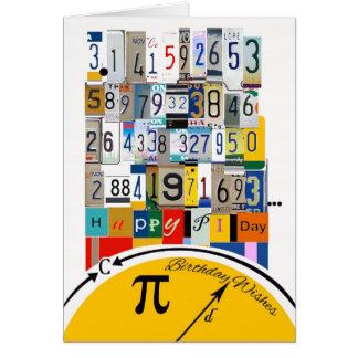 Pi-dagfödelsedagen som knastrar numrerar hälsningskort