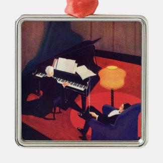 Pianist för spelare för piano för vardagsrum för julgransprydnad metall