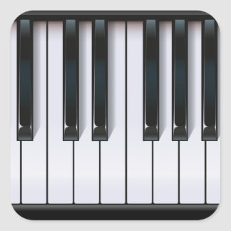 Piano Fyrkantigt Klistermärke