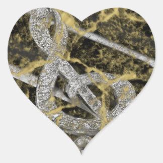 Piano Gclef Hjärtformat Klistermärke