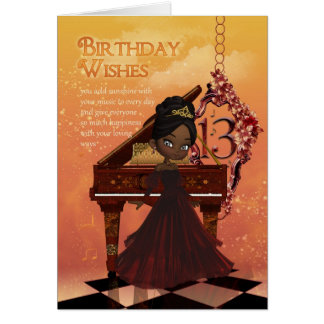 Piano Happy 13th Birthday Greeting Card