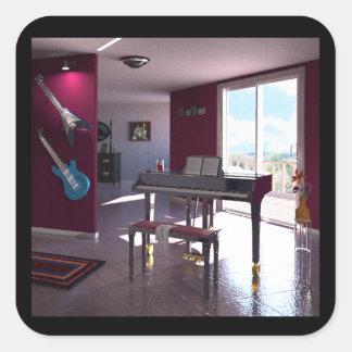 Piano i rum fyrkantigt klistermärke