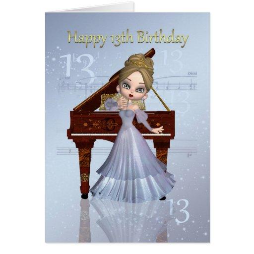 Piano och 13th födelsedagkort för musik med gullig hälsningskort
