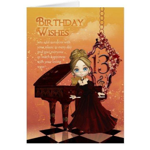 Piano och 13th födelsedagkort för musik med gullig kort