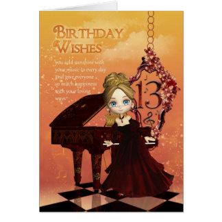 Piano och 13th födelsedagkort för musik med kort