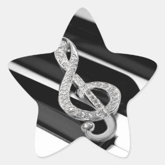 Piano och musik Gclef Stjärnformat Klistermärke