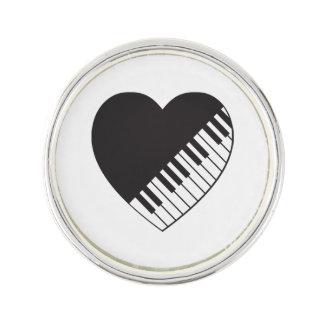 Pianohjärtaslag klämmer fast kavajnål