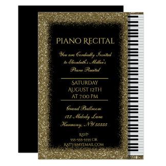 Pianohögläsning med guld- glitter på svart 12,7 x 17,8 cm inbjudningskort